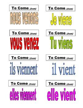 French Verb Flash Cards: AVOIR, FAIRE, ALLER, VENIR, ETRE with Subject Pronouns