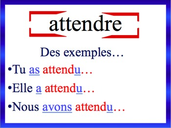 French Passé Composé (Regular) Sentence Writing Powerpoint