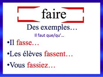 French Subjunctive (Regular & Irregular) Sentence Writing Powerpoint