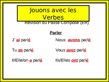 French Passé Composé (Regular Verbs) Writing Activity, Powerpoint