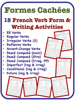 French Verb Form and Writing Activities (15 Topics)