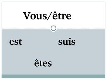 French Verb Game (er, ir, re, etre, avoir, faire, aller)-Pr. Tense