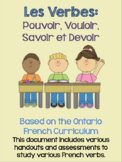 French Verb Handouts and Assessments: Pouvoir, Vouloir, Savoir and Devoir