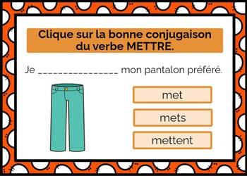 French Verb Mettre Boom Cards Digital Task Cards Mettre Au Present
