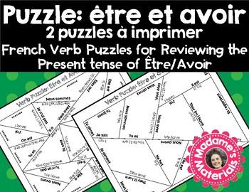 French Verb Review Puzzle: être et avoir au présent