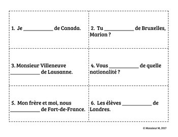 French Verb « être » : Scoot Activity/Game