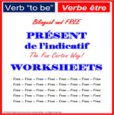 """French Verb """"to be"""" Present Simple Tense - bilingual - WORKSHEETS"""