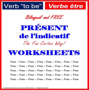 "French Verb ""to be"" Present Simple Tense - bilingual - WORKSHEETS"
