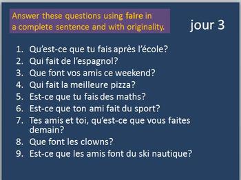 French Verbs 1 BELLWORK Bundle