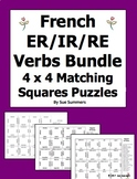 French Verbs Bundle - ER/IR/RE Infinitives 4 x 4 Matching Squares Puzzles