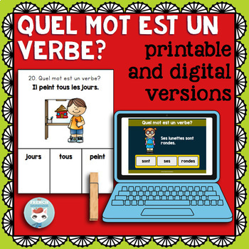 Verbes: identifying French verbs practice | Printable & Digital Boom Cards