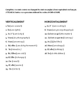 French Verbs - Expressions with avoir and faire