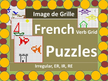 French Verbs Grid Picture Puzzles
