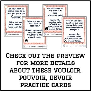 French Verbs VOULOIR - POUVOIR - DEVOIR Task Cards - Cartes à tâches