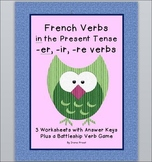 French Verbs in the Present Tense - 3 Worksheets and a Bat