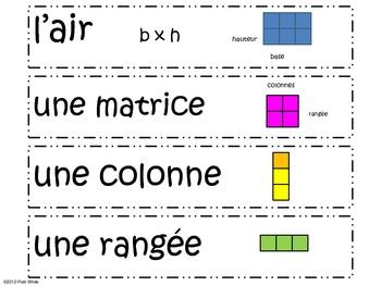 French Version of Math Vocabulary Freebie