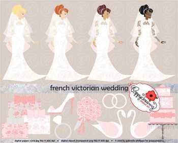 French Victorian Wedding Clipart by Poppydreamz