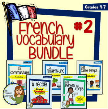 French Vocab Activity BUNDLE #2 - Community, Food, School, Hobbies, and Body