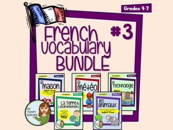 French Vocab Activity BUNDLE #3 - Home, Weather, Environment, Technology, Animal