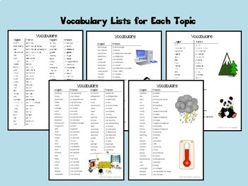 French Vocab Activity BUNDLE #3 - Home, Weather, Environment,Technology, Animals