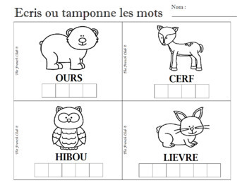 French Vocabulary Activities – Animaux de la forêt – Activités