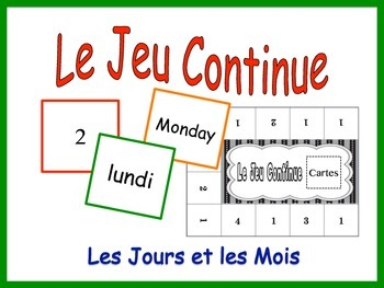 French Days and Months Activity for Groups, Inventive Twis