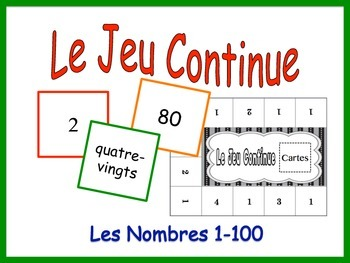 French Numbers 1-100 Activity for Groups, Inventive Twist on Memory
