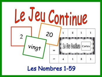 French Numbers 1-59 Activity for Groups, Inventive Twist on Memory