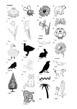 French Vocabulary - Animals, Birds, Flowers and Trees - Crossword Puzzle