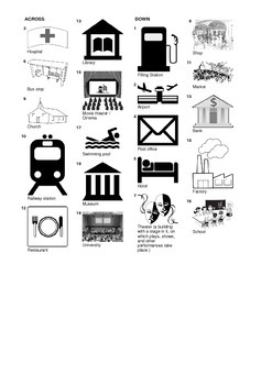 French Vocabulary - Buildings - Crossword Puzzle