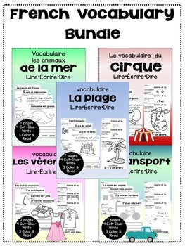 French Vocabulary Bundle {Dual language, immersion, FLES}