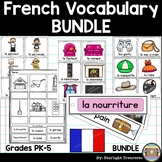 French Vocabulary Bundle: Flash Cards, Label the Picture Worksheet, & Word Wall