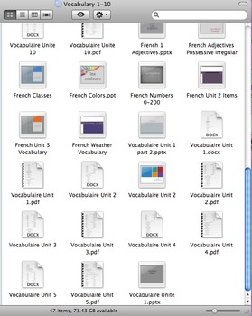 FrenchI (7 & 8th grade) - Vocabulary Bundle - Powerpoints & Vocab Sheets