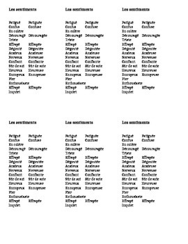 French Vocabulary Cards