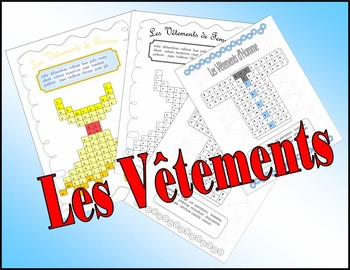 French Vocabulary. Clothes (Les Vêtements). Wordsearch.