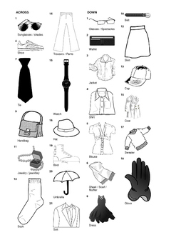 French Vocabulary - Clothing and Accessories - Crossword Puzzle