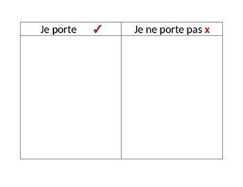French Vocabulary Clothing Graphic Organizer