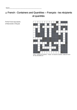French Vocabulary - Containers and Quantities Crossword Puzzle