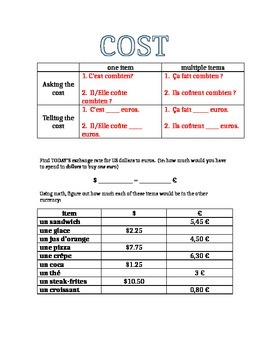 French Vocabulary : Costs/Money