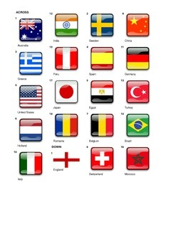 French Vocabulary - Countries - Crossword Puzzle