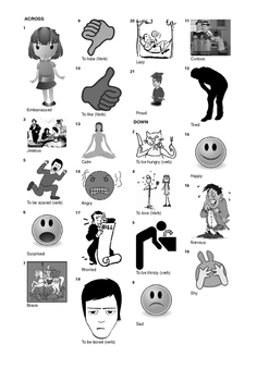 French Vocabulary - Emotions and Feelings Crossword Puzzle