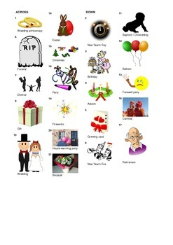 French Vocabulary - Festivals and Life Events - Crossword Puzzle