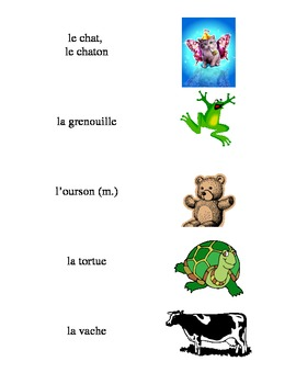 French Vocabulary Flash Cards: Domestic Animals / Animaux