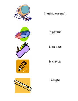 French Vocabulary Flash Cards: La Trousse / School Supplies