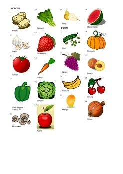 French Vocabulary - Fruits and Vegetables - Crossword Puzzle