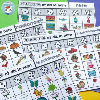 French Vocabulary GAME: Roll and Say the Name | Seasonal Themes | jeu français
