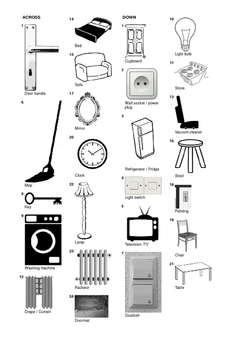 French Vocabulary - General Furniture and Household Items Crossword Puzzle