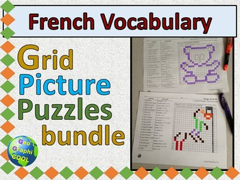 French Vocabulary Grid Picture Puzzles