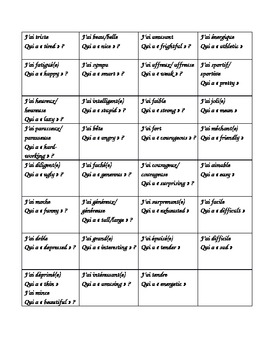 French Vocabulary--I have GAME--adjectives