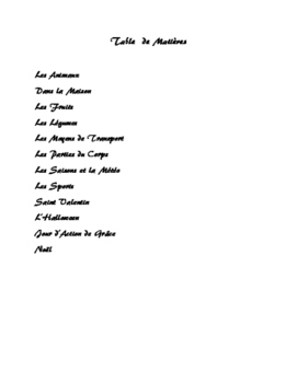 French Vocabulary Lists with Graphics
